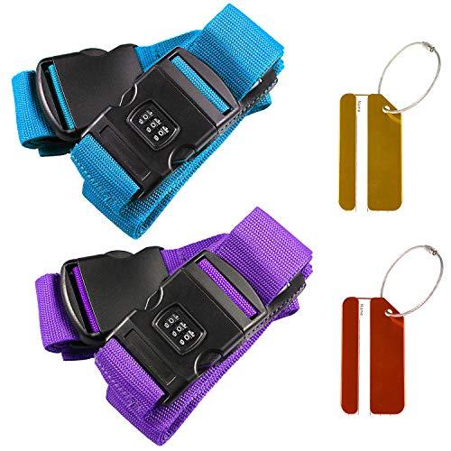 Sangles de bagages réglables, sangles antidérapantes + clip de blocage du mot de passe + 2 étiquettes bagages gratuites pour fermer vos bagages en toute sécurité et identifier vos bagages.