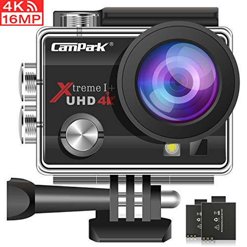 Campark ACT74 Caméra de sport ACT74 Caméra 4k WiFi 16MP Imperméable à l'eau Caméra étanche Caméscope 30M avec de multiples accessoires
