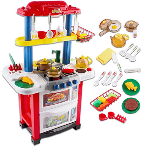 deAO Happy Little Chef Toy Cuisine Cuisine Jouet Cuisine avec Lumières, Sons, Fonctions réelles de l'eau et Accessoires Inclus