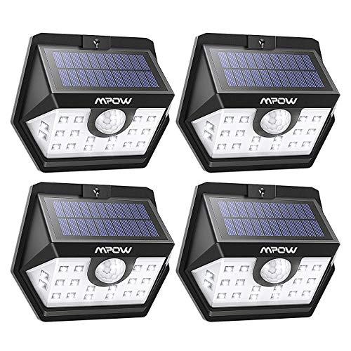Luminaire solaire d'extérieur Mpow, 20 LED, Lampe solaire, éclairage angulaire à 270º avec détecteur de mouvement étanche à 120°, Spot de jardin solaire mural, Garage, Route, Patio, 4 pièces