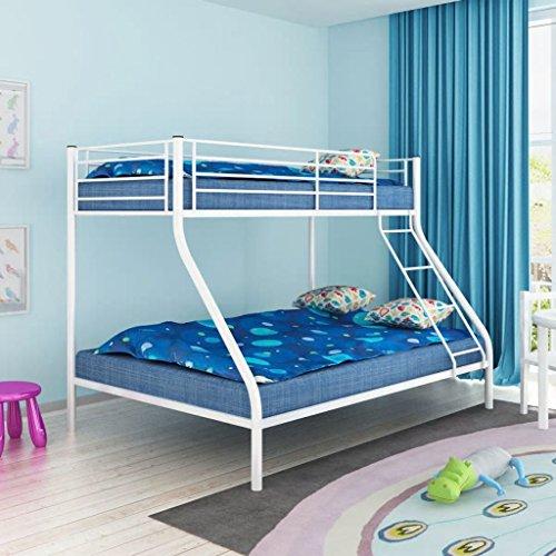 Lits juvénile 200x140 / 200x90 cm en métal pour enfants Nishore (Blanc)