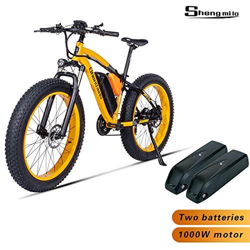 Shengmilo MX02, Vélo électrique, Moteur 1000W, Vélo 26 pouces, Batterie 48 V 17 AH (MX02 jaune (1000w))