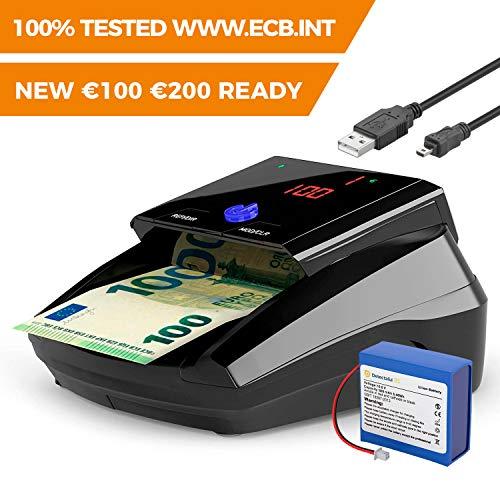 Detectalia D7 - Détecteur de faux billets, batterie au lithium et câble de mise à jour