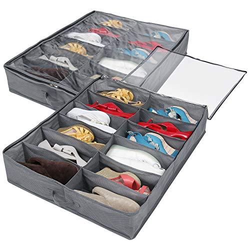 Lifewit 2 Pièces Sac de rangement pour chaussures sous le lit 24 paires d'armoires tissées avec fermeture à glissière