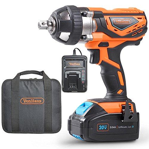 Clé à chocs VonHaus max. 20 V avec conducteur carré ½ pouces, 240 Nm - Batterie, chargeur et trousse à outils inclus