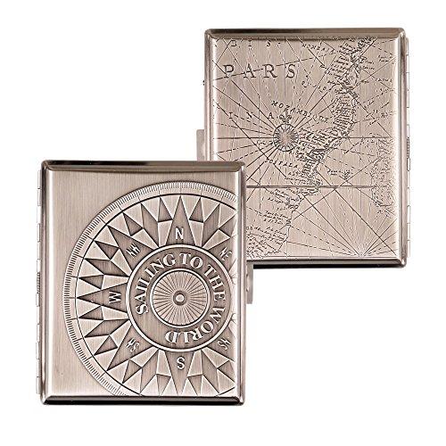SMOKERTOOLS - Etui à cigarettes en métal avec support, carte et rose des vents du 18ème siècle