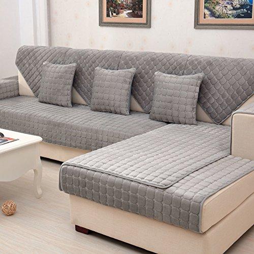 YANGYAYA Canapé en peluche matelassé, antidérapant, couleur unie Caisses universelles ' Tout compris ' Porte-serviettes de table Protecteur de meubles D 110x105cm(43x41inch)(1PCS)