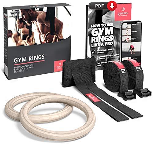 BeMaxx Fitness Anneaux de gymnastique en bois Ancrage de porte et guide d'exercice | Kit d'entraînement et sangle de gymnastique + boucles | Crossfit, Gym, Sport à domicile | Adultes, enfants