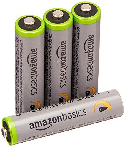 AmazonBasics - Lot de 4 piles rechargeables AAA Ni-MH (préchargées, 500 cycles, 850 mAh, minimum 800 mAh) - Le couvercle extérieur peut varier