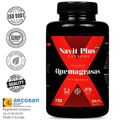 Brûleur de graisse de Navit Plus EXTREME. Puissant thermogénique, brûle les graisses naturelles. Nº1 dans Sports fat burner.120 capsules végétales.
