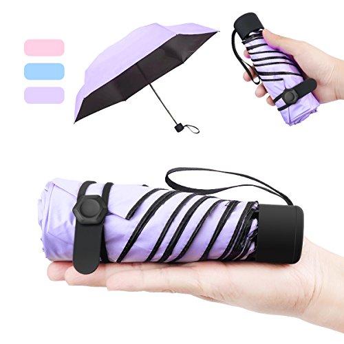 NASUM petit parapluie pliable Mini Sun Umbrella pour femme portable Longueur 17 Centimètres 6 côtes noir épais anti ultraviolet et tissu de caoutchouc contre le vent pour les activités en plein air violet clair