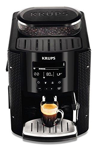 Krups EA815070 - Cafetière automatique 15 barres de pression, écran LCD, 3 niveaux d'intensité, réglable de 20 ml à 220 ml, programme automatique de nettoyage et de détartrage, moulin intégré