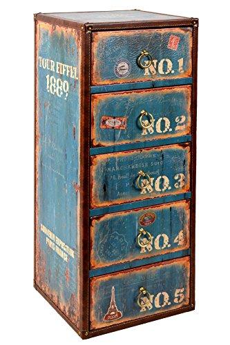 ts-ideen Container Confortable armoire de rayonnage design rétro shabby style industriel, bleu