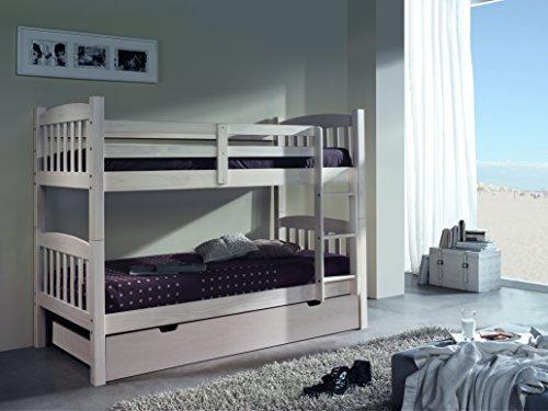 MUEBLESYA.COM-Litera à trois lits en pin blanc lavé