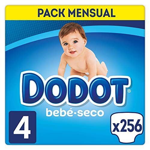 Couches sèches Dodot Baby Taille 4, 9-14Kg, 256 couches, avec canaux d'air
