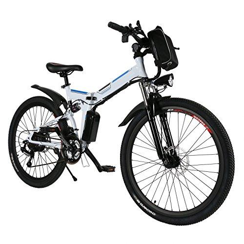 AMDirect Vélo de montagne électrique AMDirect 26 pouces roue pliante Ebike grande capacité Batterie au lithium 36V 250W 21 vitesses Premium Full Suspension et Shimano Gear (blanc)