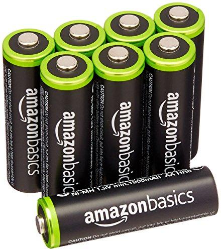AmazonBasics - Lot de 8 piles rechargeables AA Ni-MH (préchargées, 1000 cycles, 2000 mAh/minimum 1900 mAh) - Le couvercle extérieur peut varier.