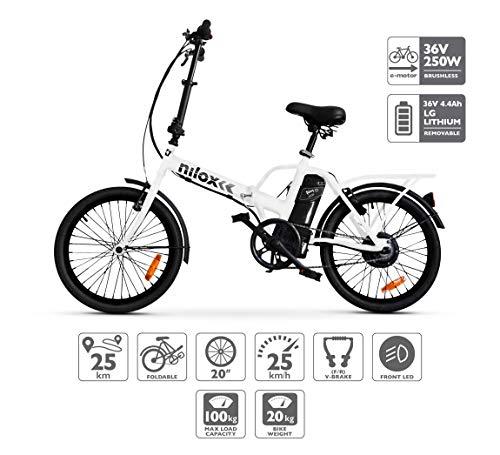 Vélo électrique Nilox ebike X1- Electric Bicycle, Unisexe Adulte, Blanc, Taille Unique pour tous