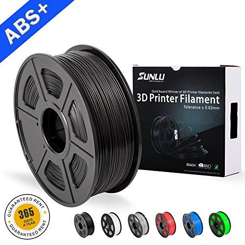 Filaments ABS SUNLU pour imprimante 3D - Filament ABS vert 1.75 mm, précision dimensionnelle à faible odeur +/- 0.02 mm Filament d'impression 3D, bobine 2.2 LBS (1KG), noir