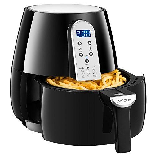 Friteuse sans huile, friteuse à air chaud Aicook XL avec contrôle de température et minuterie, écran tactile numérique LCD, 1500W, noir