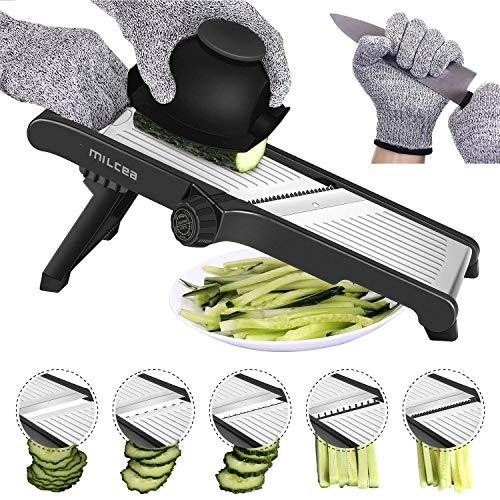 Coupe-mandoline en acier inoxydable, coupe-mandoline réglable pour la cuisine, l'alimentation, la mandoline et les légumes, pour les fruits et légumes, papier, fin jusqu'à 6 mm (1)