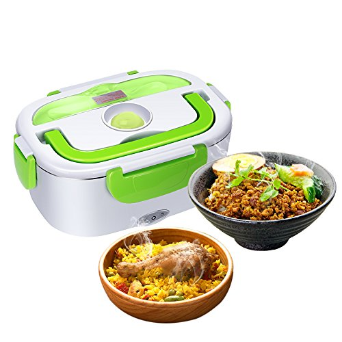 GHB Electric boîte à lunch électrique 40W chauffe-plats électrique 220V Tartera travail pour l'alimentation en acier inoxydable client avec deux compartiments et cuillère à soupe