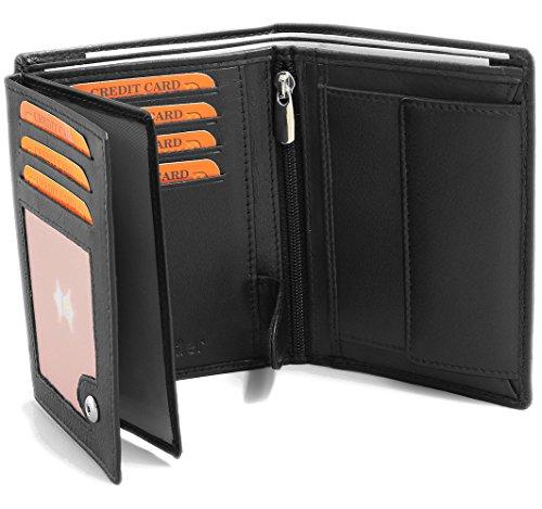 Portefeuille en cuir noir en vertical pour hommes Femmes Bloc RFID Fa.Volmer #VO2