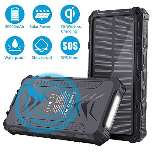 Sendowtek 20000mAh Batterie solaire externe, Batterie de banque d'énergie solaire portable avec USB/USB C/Qi Chargeur de fil pour Smartphone Tablet PC, lampe de poche SOS pour voyages de camping