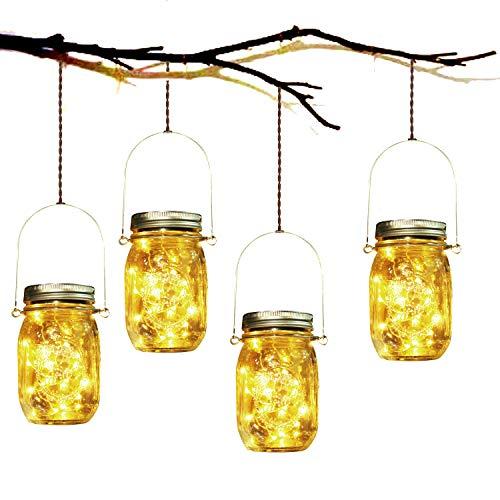 Lampe de décoration solaire - Lampe de décoration solaire 4 pièces Mason Mason Jar Set lampe économique d'énergie et imperméable à l'eau pour l'intérieur / Extérieur Festival de jardin et de la décoration de fête de mariage