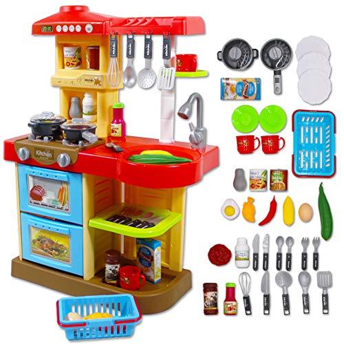deAO Mi Mi Little Chef - Cuisine à jouets avec 30 accessoires inclus, rouge