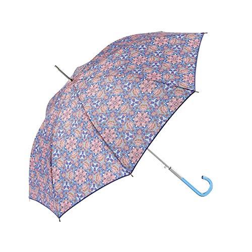 Catalina Estrada pour EZPELETA Parapluie Femme Long, coupe-vent et automatique. Tissu imprimé Fleurs. - Bleu