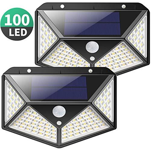 Lumière solaire extérieure, Kilponen 100 LED Lumière solaire extérieure grand angle 270° avec capteur de mouvement 1800mAh Capteur de mouvement Solaire Imperméable à l'eau Lampe de sécurité murale solaire 3 modes pour jardin (2 Pack)