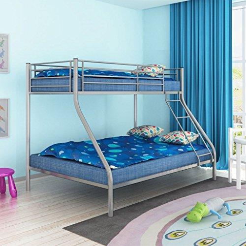 Festnight Triple Bed Metal Litière Enfant Gris 200x140/200x90 cm