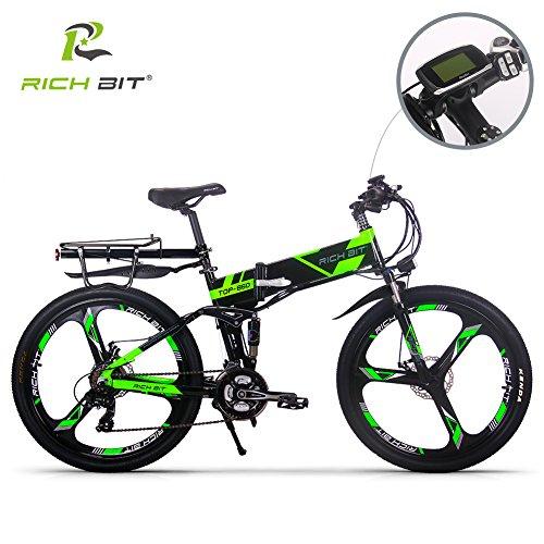 RICH BIT Electric RT860 E-Bike 12.8Ah Lithium Batterie 36V 250W Brushless Motor Shimano 21 vitesses VTT pliable pliable 26 pouces frein à disque vélo électrique intelligent