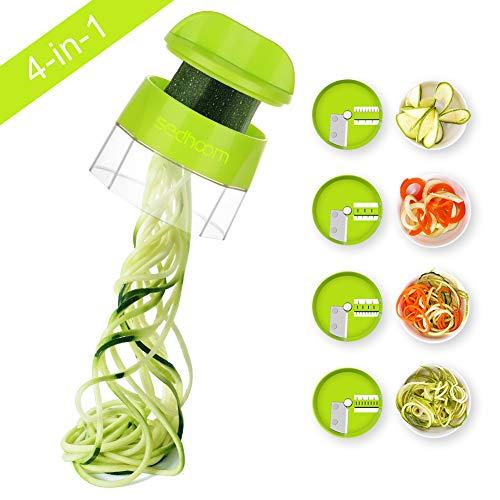 Coupe-légumes Sedhoom 4 en 1 Râpe à légumes courgettes Râpe à légumes Spiralizer Pâte à légumes Tranche-légumes, Spaghetti courgettes, Coupe-légumes manuel spirale