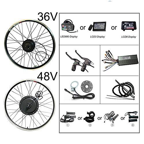 Conversion de Bluetooth Electric Bicycle Kit 48 V 500 W 1000 W 1000 W 1500 W LCD Régénération LCD Ebike Kit pour 20-29 pouces en avant du moteur de roue arrière, 26 arrière36V250WLCD3