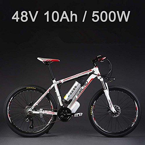 SMLRO Batterie Lithium Vélo Electrique 26'48V 500W, Vélo Electrique 27 vitesses, VTT/VTT, Freins à disque à huile Adopt (10Ah Blanc Rouge)