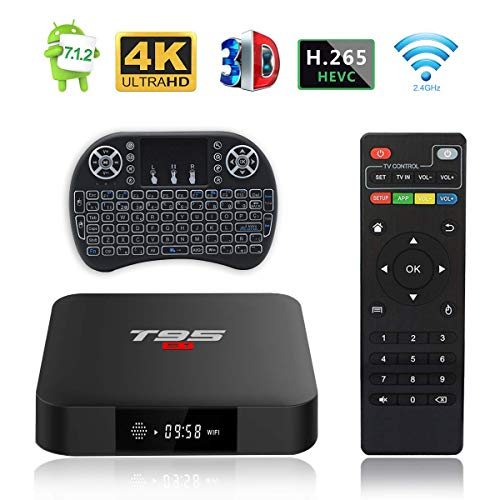 Android TV Box, T95 S1 TV Box 2GB RAM RAM/16GB ROM Android 7.1 Amlogic S905W Quad Core Support 2.4GHz WiFi H.265 4K HDMI DLNA Multimedia Player avec Mini Clavier Sans Fil