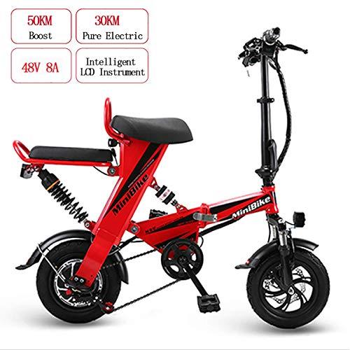 WYD Vélo de montagne électrique pour adultes, Vélo électrique pliable 48V 8AH 350W Mini Double avec 30 km de résistance et vitesse maximale de 25 km/h, Freins à double disque, Réseau