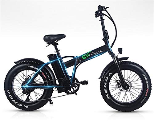 Vélo électrique WYFDM Vélo électrique 20 pouces Moto 48 V Vélo de montagne 4.0 Motoneige pneumatique Largeur 2 roues 500 W Vélo électrique pliable pliable en aluminium, noir