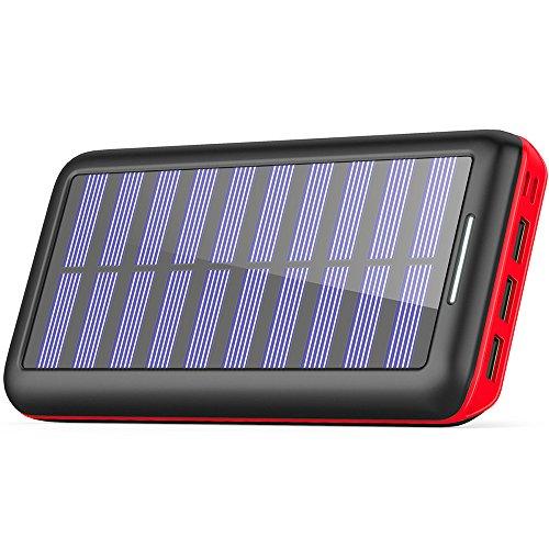 KEDRON Power Bank 24000mAh 3 Ports de sortie et d'entrée Chargeur portable portable double batterie externe avec téléphones Android/iOS, tablette et autres Smartphones(Rouge)
