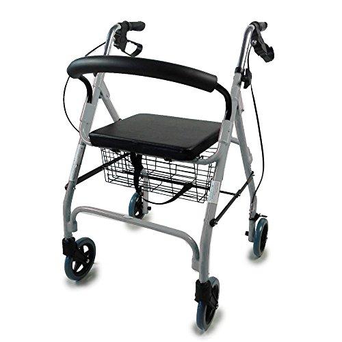 Mobiclinic 4 Wheel Elderly Walker | Rollator Deluxe pliable | Réglable en hauteur | Panier inclus | Couleur grise élégante | Poids maximum soutenu 100 Kg | Modèle Alhambra