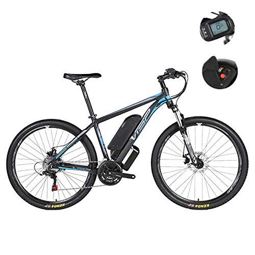 Vélo de montagne électrique, frein hybride à double disque 24 vitesses pour toutes les routes, avec interface de charge USB et compteur intelligent LCD54 sensible à l'eau IP54,Bleu,36V29IH