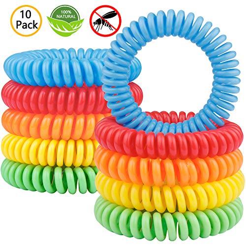 Bracelets anti-moustiques Gritin 10 pièces, Bracelet naturel non toxique avec odeur de citronnelle et protection à long terme contre les insectes à la menthe pour enfants et adultes.