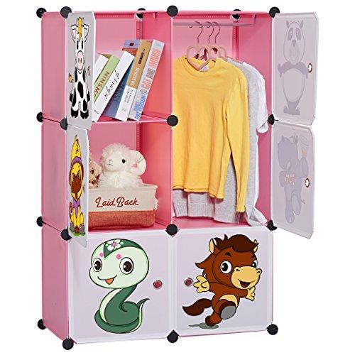 LANGRIA Armoire à portes modulaires LANGRIA pour enfants avec des étagères autocollantes pour animaux Tablettes par modules Rangement Armoire à vêtements Chaussures pour vêtements Jouets Fournitures scolaires (6 cubes, rose)