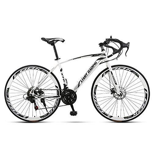 Vélo de route unisexe de compétition 26 pouces en acier à haute teneur en carbone Frein à disque double vitesse 21 vitesses pour enfant enfant Cheveux durs Voyageur vélo de route urbain, blanc