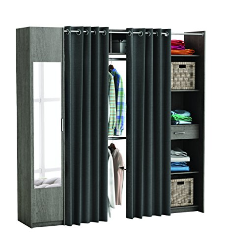 Miroytengo Extending Wardrobe Kit Dressing Room Dressing Wardrobe Wardrobe Wardrobe with Mirror Curtains and Column with shelves Color Oak Prata 165x220x50 cm