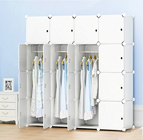 PREMAG Armoire portative, Armoire combinée, Armoire modulaire peu encombrante, Rangement idéal pour livres, jouets, serviettes (16 cubes, sticers supplémentaires inclus)