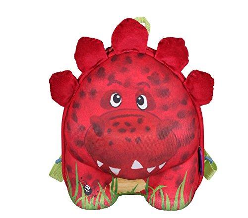 Sac à dos okiedog 80072 Sac à dos enfant avec motif 3D et oreilles en peluche dinosaure, rouge