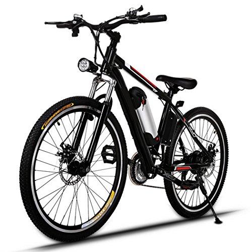 AMDirect Vélo de montagne électrique AMDirect 26 pouces E-Bike 21 vitesses avec lampe de poche et batterie au lithium amovible 250W 36V, noir